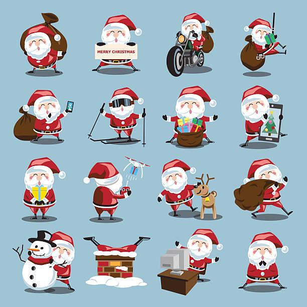 santa klausel set für weihnachten - kaminverkleidungen stock-grafiken, -clipart, -cartoons und -symbole