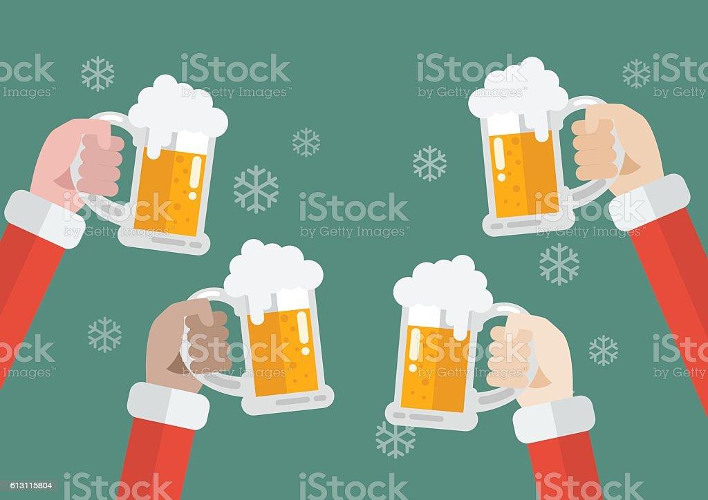 Santa clinking beer glasses vector art illustration