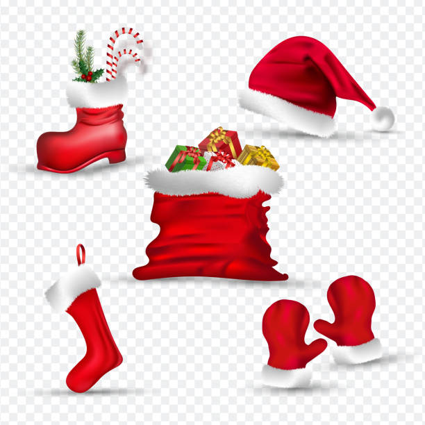 Santa clothes like as gloves, sock, hat, boot and gift sack on png background. vector art illustration