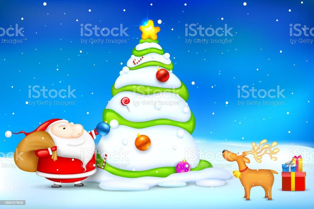 Santa decorating Christmas Tree royalty-free stock vector art