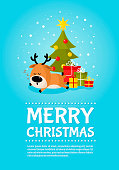 Santa deer sleeps under Christmas tree with gifts poster. Merry Christmas and Happy New Year. Holiday greeting card. Isolated vector illustration.