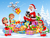 Vector illustration of Santa Claus sitting on a big pile of Christmas presents in a snowy landscape operating a drone to deliver parcels. Three cute Christmas elves are helping him.