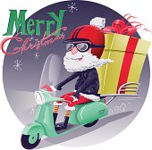 Cute Santa biker riding a scooter loaded with huge gift box. Custom lettering on a separate layer, global colors, transparency effects, large JPG included.