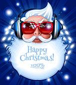 Santa DJ with headphones on disco background. Celebration poster, postcard. EPS 10