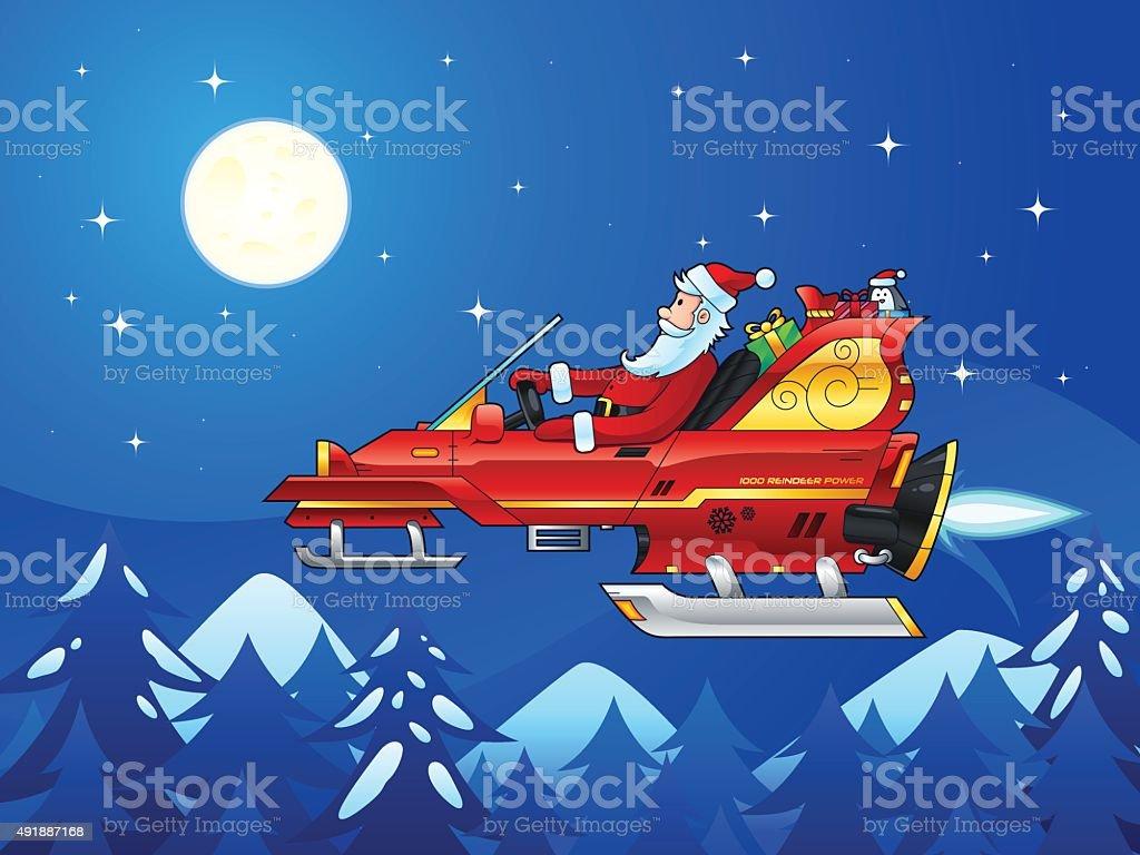 Santa Driving a Futuristic Sleigh vector art illustration