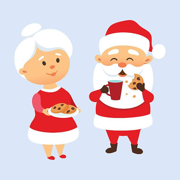 santa essen cookies - weihnachtsschokolade stock-grafiken, -clipart, -cartoons und -symbole