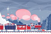 Santa Claus driving a steam train loaded with gifts and friends. File has transparencies and different blending modes. Only two global colors used. Clipping mask on train and trees.