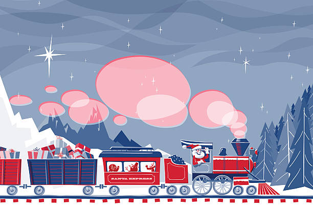 Santa Express Santa Claus driving a steam train loaded with gifts and friends. File has transparencies and different blending modes. Only two global colors used. Clipping mask on train and trees. christmas fun stock illustrations