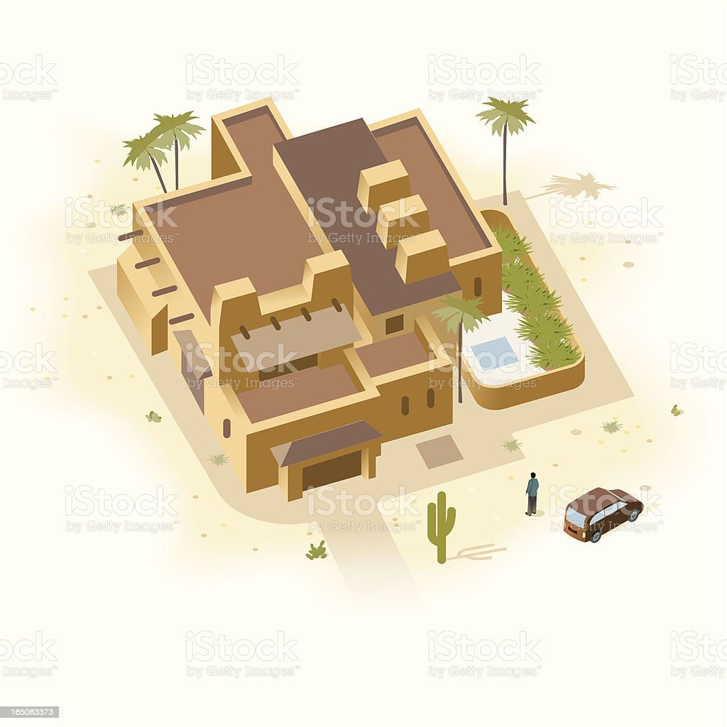 Santa Fe Sandstone House vector art illustration