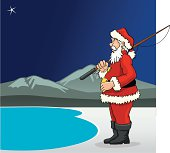 illustration of Santa Claus with a fishing reel in front of a lake, about to fish