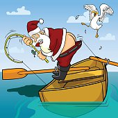 Santa getting frustrated while fishing, does not realise the hook is caught in his pants which is showing his bottom.