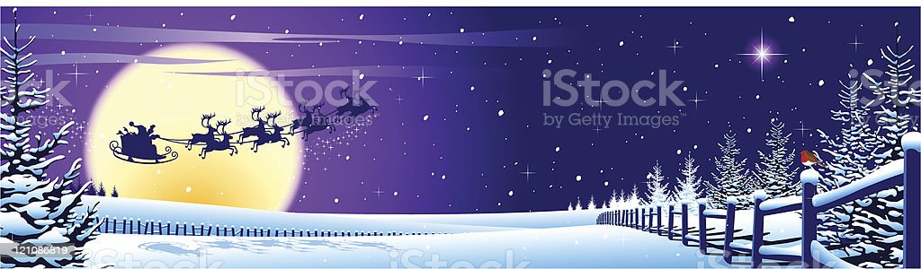 Santa flying past moon a magical Christmas landscape royalty-free stock vector art