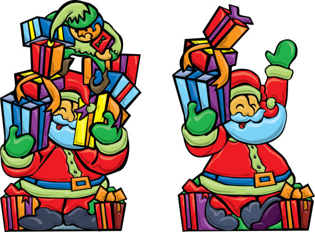 Santa gets some help with gifts from elf vector art illustration