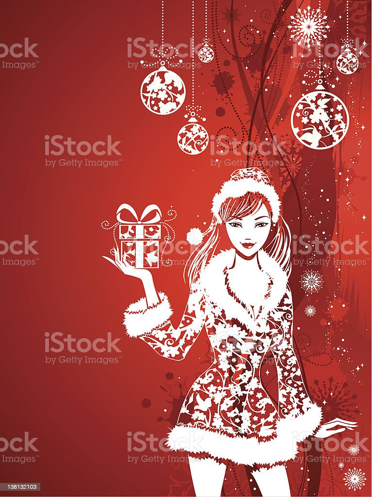 Santa girl on red Christmas background royalty-free santa girl on red christmas background stock vector art & more images of abstract