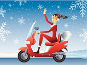 Santa Girl on Scooter. Vector illustration done using Adobe Illustrator CS3. Vector-Based Illustration. High Resolution JPG and Illustrator 0.8 EPS included.