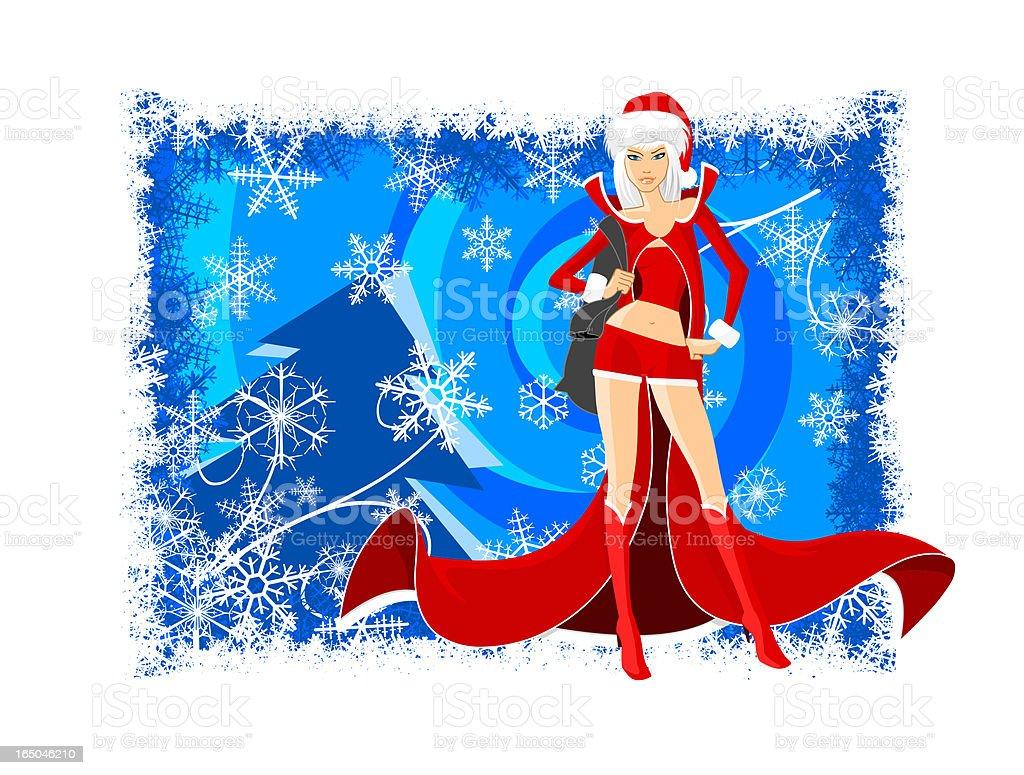 Santa Girl vector art illustration