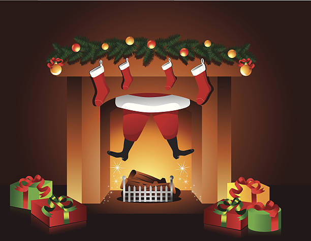 Santa goes up the fireplace vector art illustration