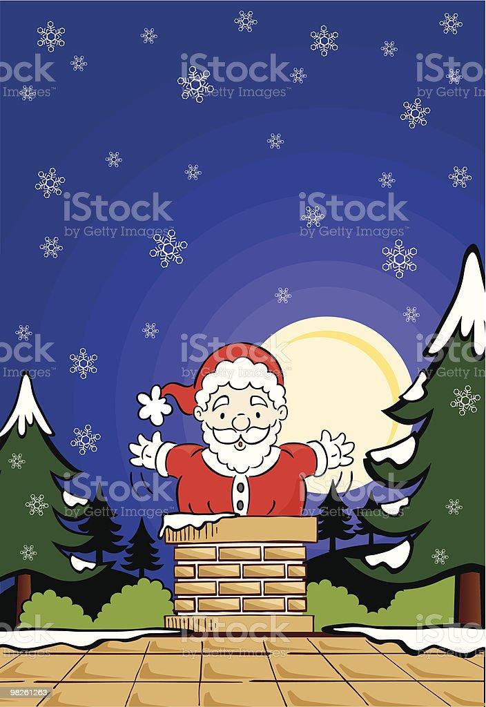Santa going down the chimney royalty-free santa going down the chimney stock vector art & more images of chimney