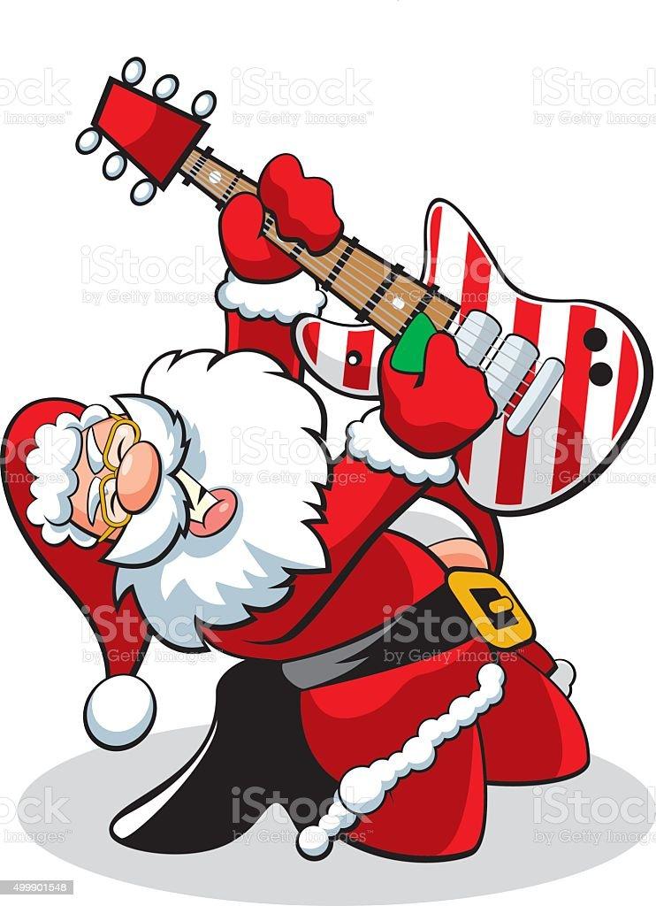 Santa Guitar vector art illustration