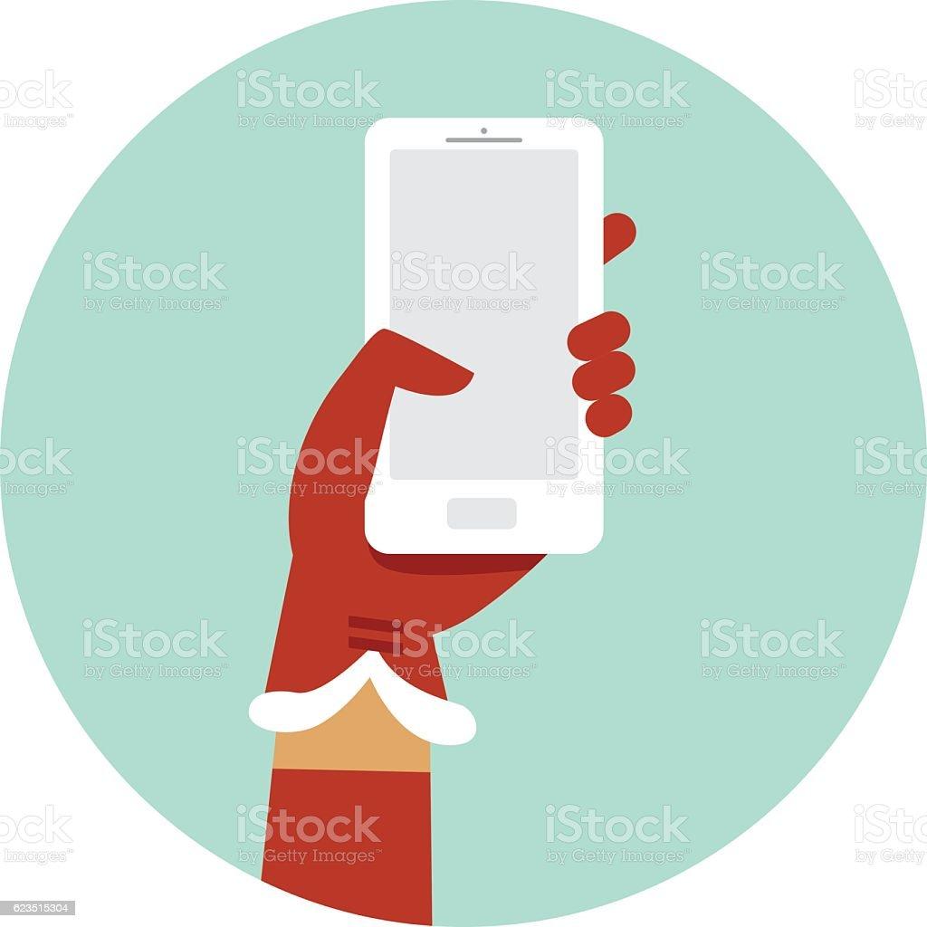 Santa hand holding smartphone vector art illustration
