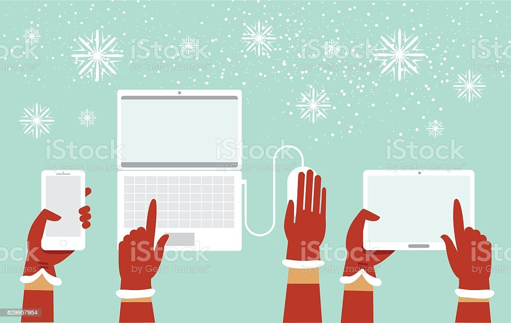 Santa hands holding various smart devices vector art illustration