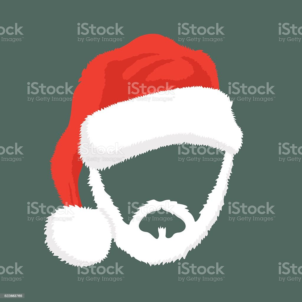 Santa Hat and beard on the blue background vector art illustration