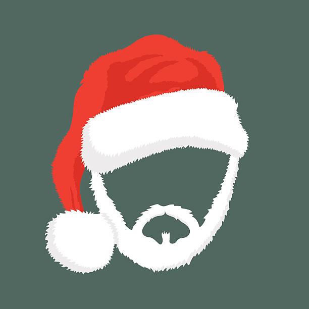santa hat and beard on the blue background - lepro stock illustrations