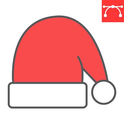 Santa hat color line icon