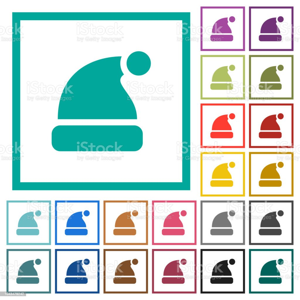 Santa Hat Flat Color Icons With Quadrant Frames Stock Vector Art ...