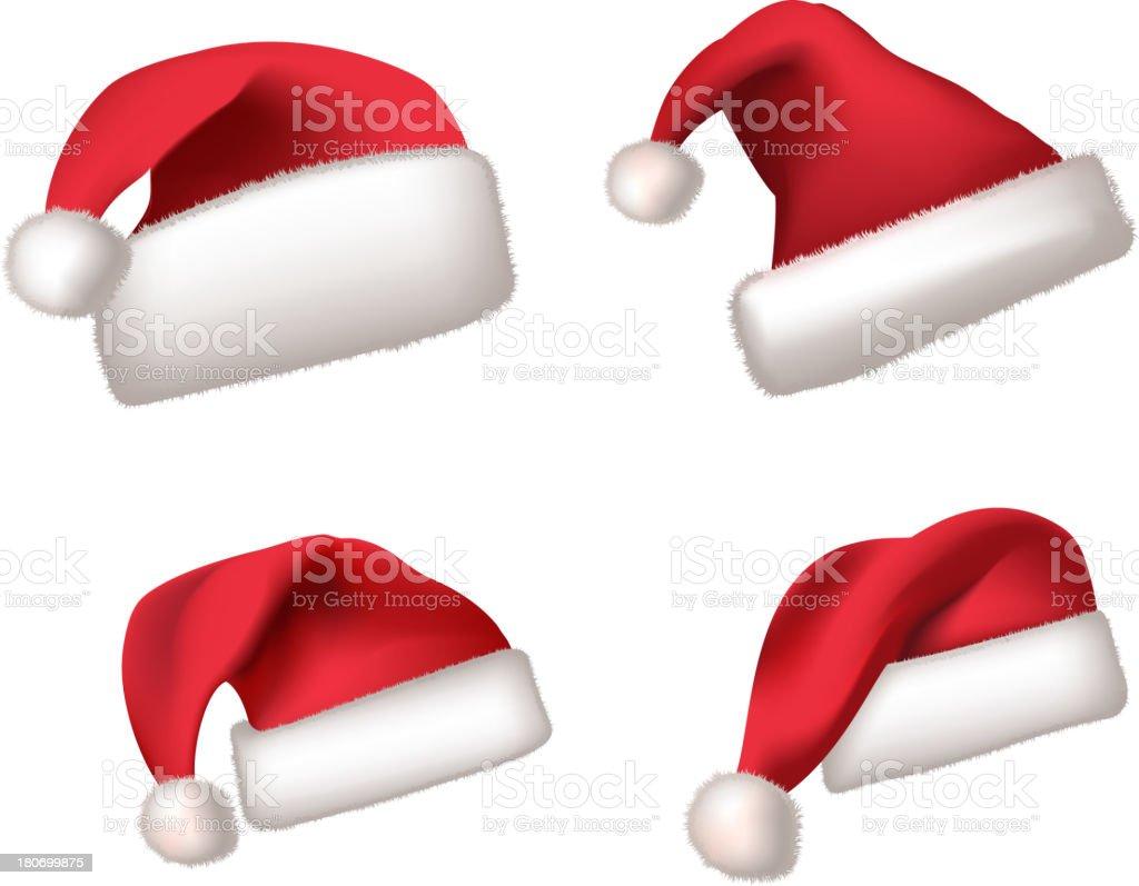 Santa hat Hats isolated on white Set royalty-free stock vector art