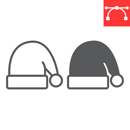 Santa hat line and glyph icon