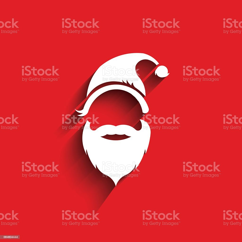 Santa hat, moustache with beard.3D Paper style vector art illustration
