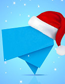 Santa Hat on Abstract Origami Banner