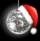 santa hat on disco ball