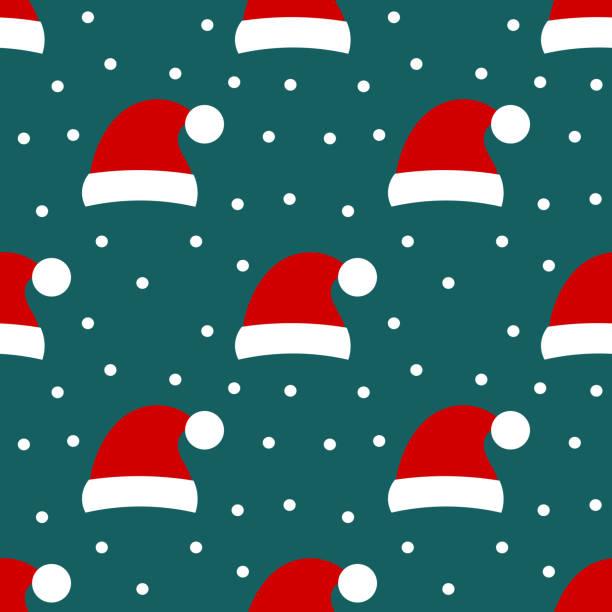 Santa hat seamless holiday pattern Santa hat seamless holiday pattern. Vector illustration santa hat stock illustrations