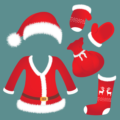Santa hat, suit, mittens, sock bag New Year's accessories