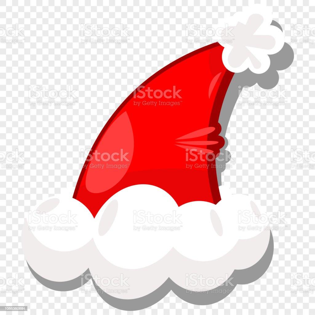 Christmas Hat Cartoon Transparent.Santa Hat Vector Cartoon Icon Isolated On A Transparent