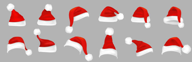 stockillustraties, clipart, cartoons en iconen met kerstmuts - kerstmanhoed