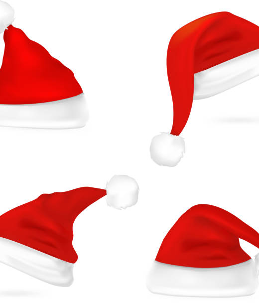 stockillustraties, clipart, cartoons en iconen met santa hat - kerstmanhoed