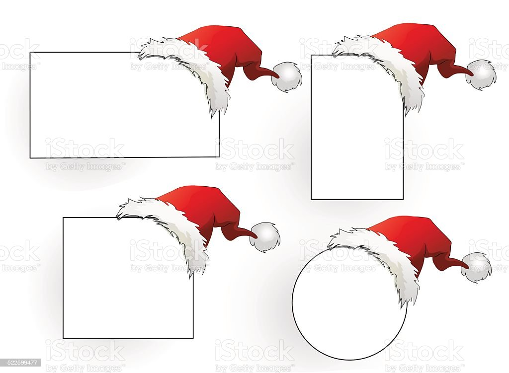 Santa hat with cards collection vector art illustration
