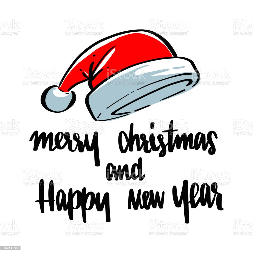 santa hat with merry christmas happy new year lettering calligraphy illustration vector greeting and invitation card design stock illustration download image now istock https www istockphoto com vector santa hat with merry christmas happy new year lettering calligraphy illustration gm892541722 247017090