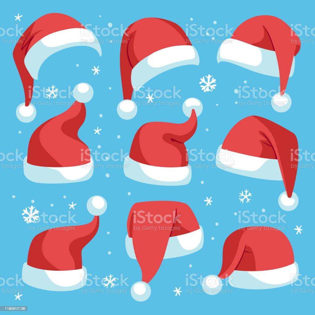 Santa Hüte. Rote Weihnachten Santa Hut Design-Set, Urlaub Maskerade Kostüm Dekoration, lustige Partei festliche Kopfbedeckungen, Cartoon Vektor Set - Lizenzfrei Comic - Kunstwerk Vektorgrafik