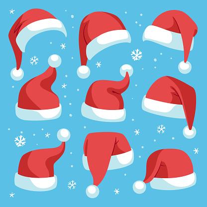 Santa hats. Red christmas santa hat design set, holiday masquerade costume decoration, funny party festive headwear, cartoon vector set