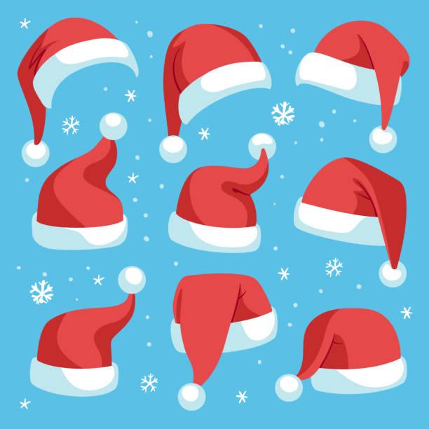 santa hüte. rote weihnachten santa hut design-set, urlaub maskerade kostüm dekoration, lustige partei festliche kopfbedeckungen, cartoon vektor set - santa stock-grafiken, -clipart, -cartoons und -symbole