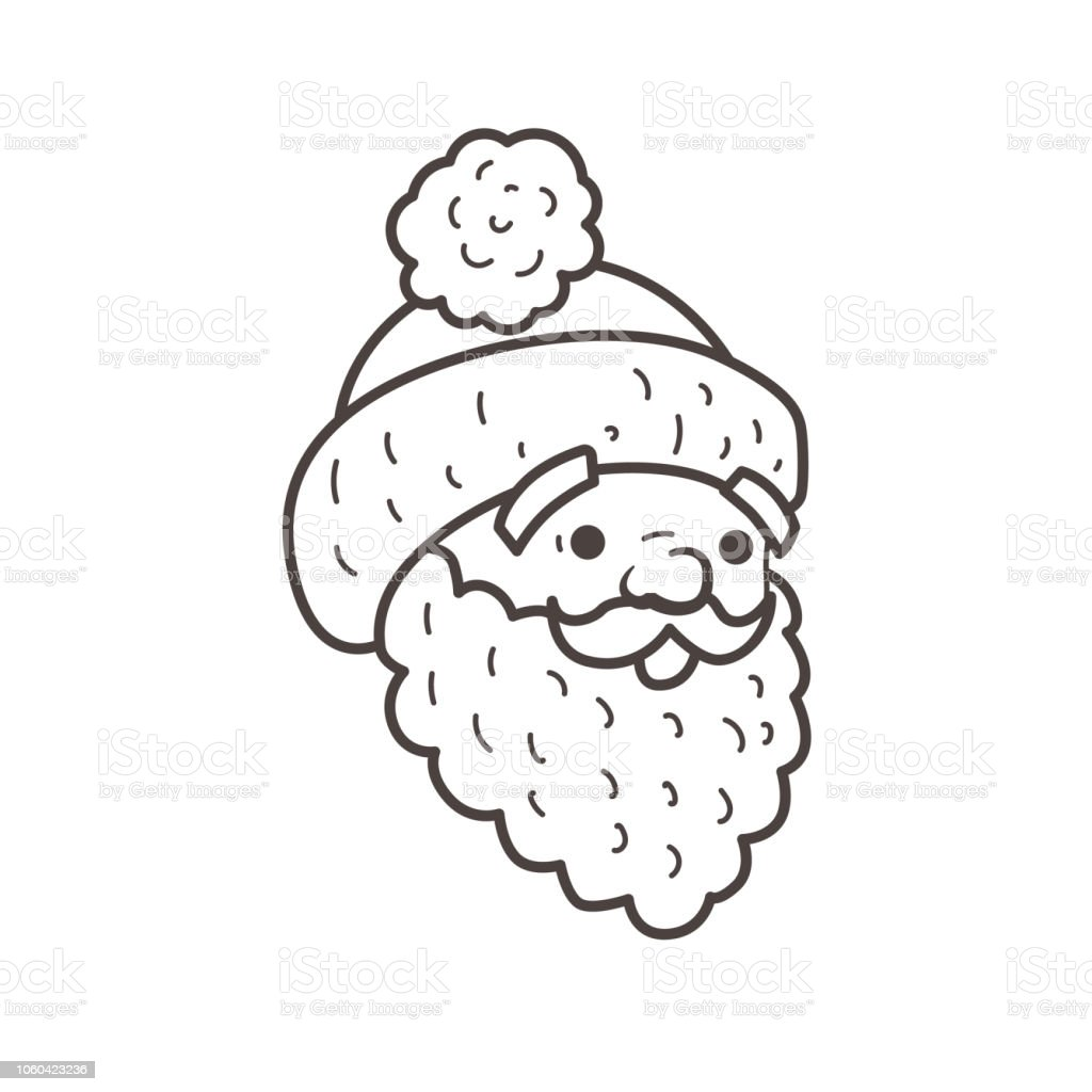 Santa Head Beard And Cap Coloring Page Stock Vector Art More