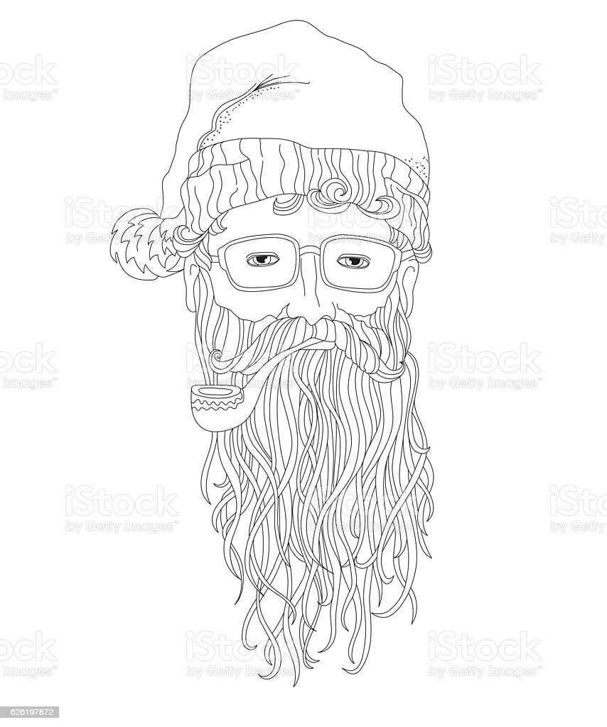 Santa hipster, coloring page for children and adults vector art illustration