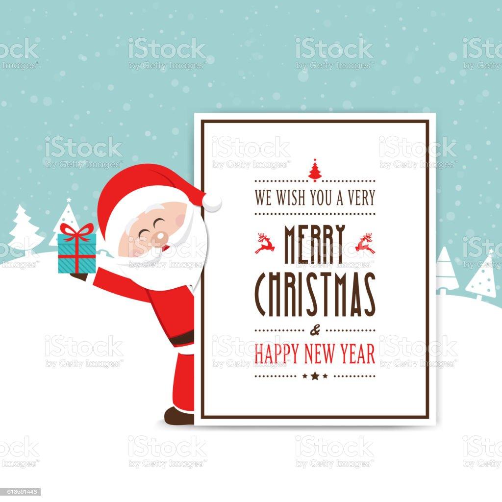 santa hold gift behind christmas card vector art illustration