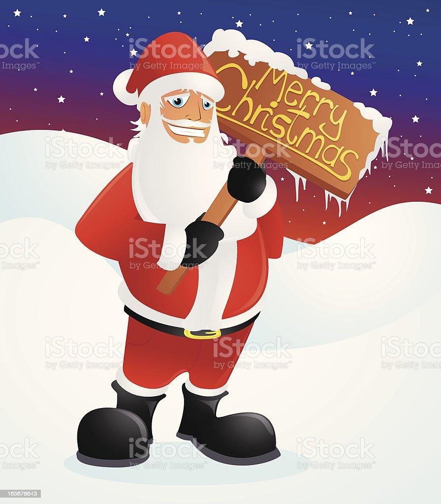 Santa holding a 'Merry Christmas' Sign vector art illustration