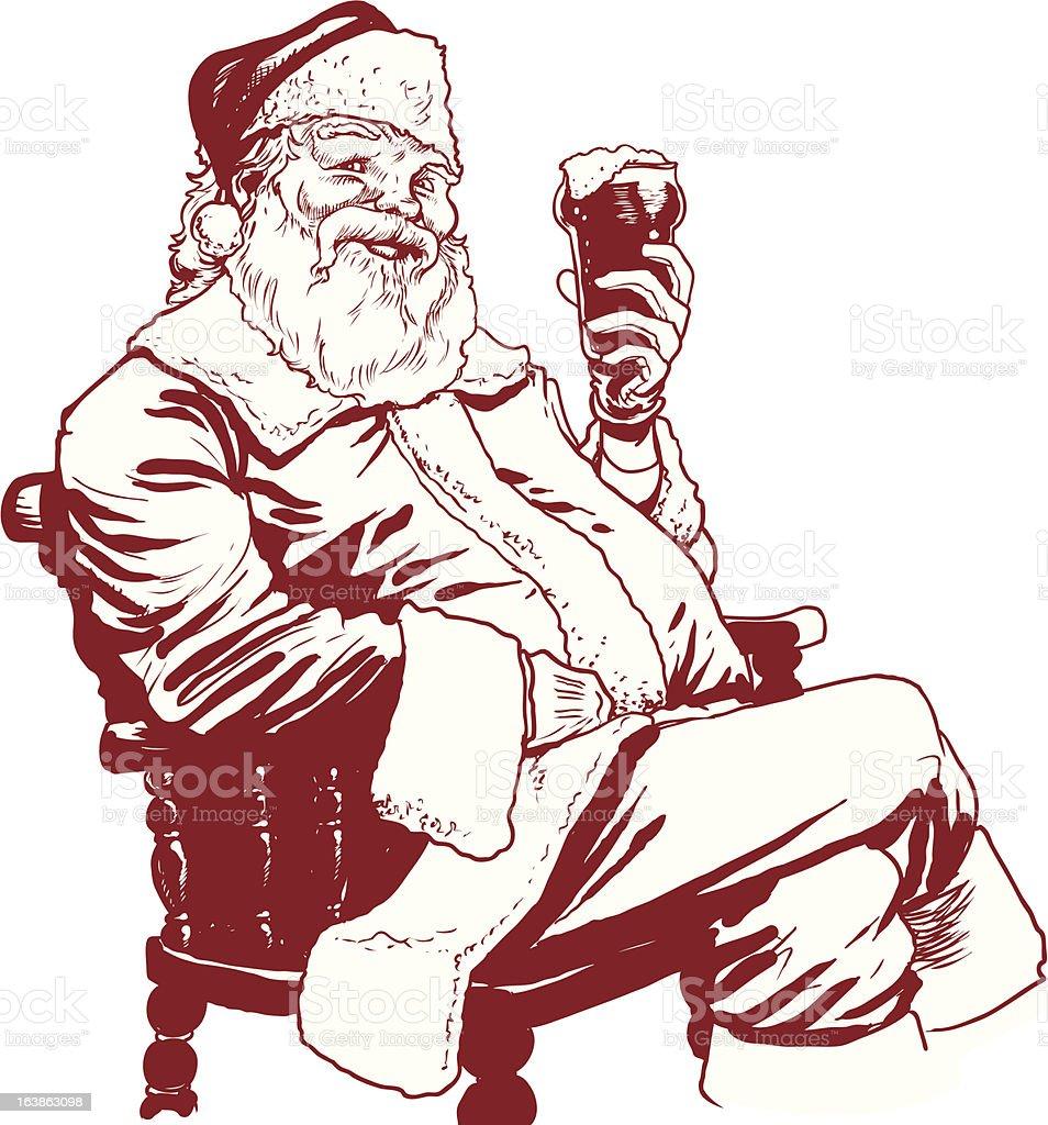 Santa Holding Beer royalty-free stock vector art