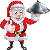 Cartoon Santa Claus holding a plate of food and giving a thumbs up gesture